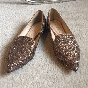 Brown Sparkly Loafers Sz: 8.5